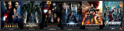 Phase 1 Marvel movies Iron Man, Thor, Avengers, Captain America