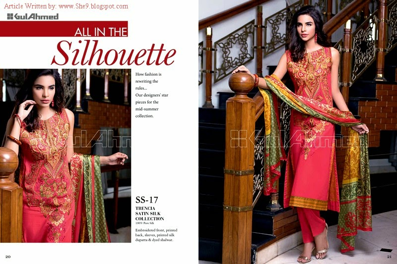 Gul Ahmed Trencia Satin Silk Suits from Midsummer Collection 2014