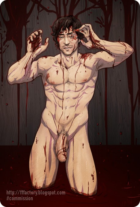 will graham portrait by hugh dancy naked covered in blood antlers hannibal nbc nsfw gay porn fanart pinup