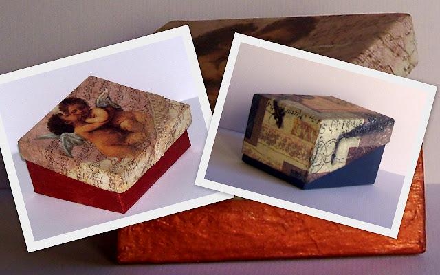 Cajas recicladas de cartón pintada con acrílico color cobre y decoupage.