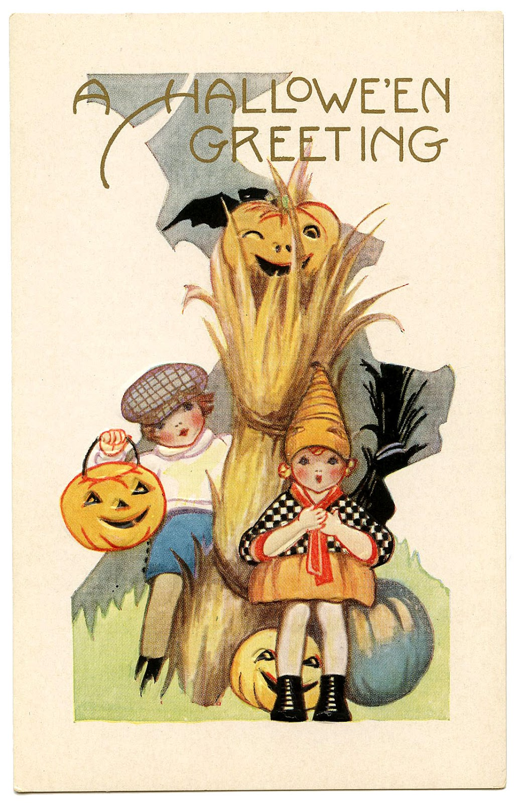 Vintage Halloween Graphic - Cute Kids with Pumpkins