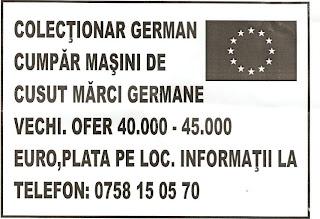 COLECŢIONAR GERMAN CUMPĂR MAŞINI DE CUSUT MĂRCI GERMANE