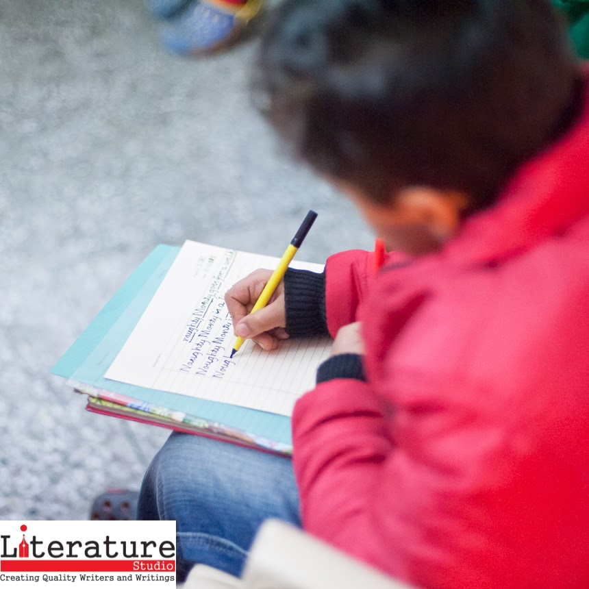 This Sunday (January 11, 2015) Travelling Camera was at Rohini to cover Literature Studio's Creative Writing Workshop for children aged 6 - 9 years. And unlike previous workshops that we have covered, this time I had questions about how effective a creative writing workshop can be for such small children. And I was in for a surprise.  The workshop was called 'Naughty Monty Goes for a Walk' and there were eight children in attendance. As the workshop proceeded, all children were drawn in and they started participating in all the exercises. I could see that many of them had started helping each other out whenever someone got stuck with something.Towards the end, all children were invited to read out the stories they had created during the workshop and I was surprised by the amount of individuality and creativity each kid demonstrated.I feel this workshop was a good initiatives and by the end of it all my doubts about whether children could benefit from a creative writing workshop had vanished. Literature Studio's workshop had proven to me that children can write, they just need the write people and the write curriculum to guide them.