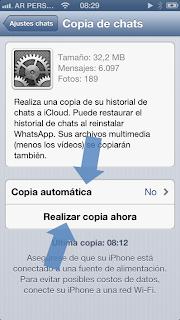 Backup en iCloud de mensajes y fotos de WhatsApp #2
