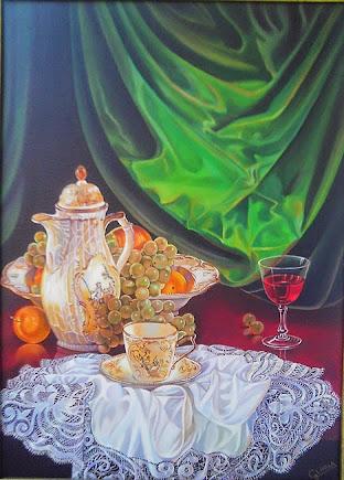 Bodegón café,fruta y vino