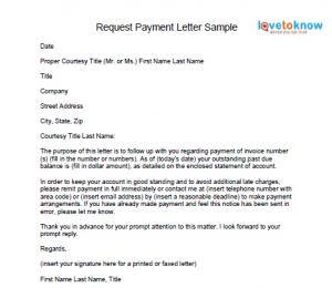 sample letter to customer for payment