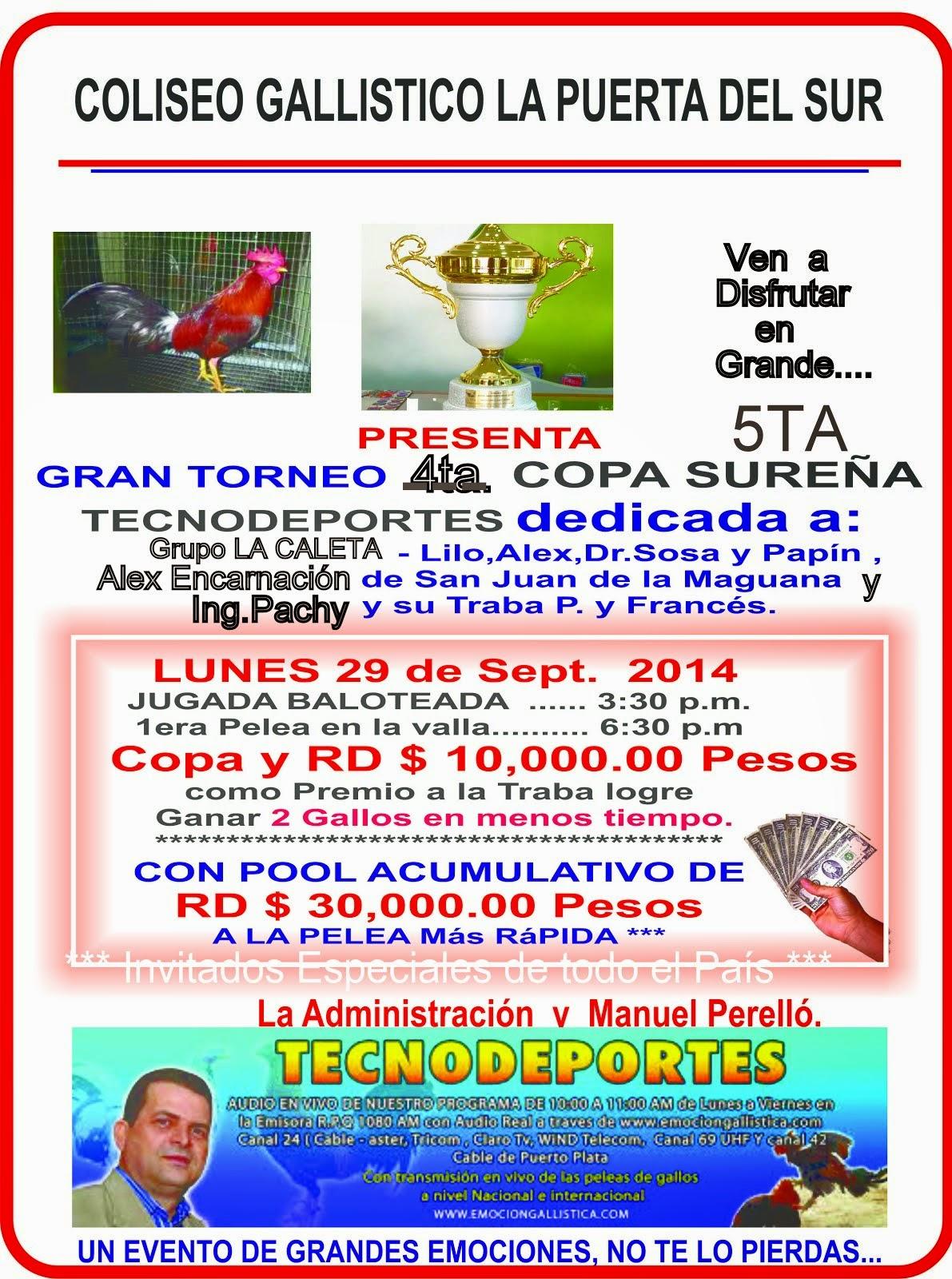 5TA COPA SUREÑA TECNODEPORTES - PROXIMO LUNES 29 DE SEPT.