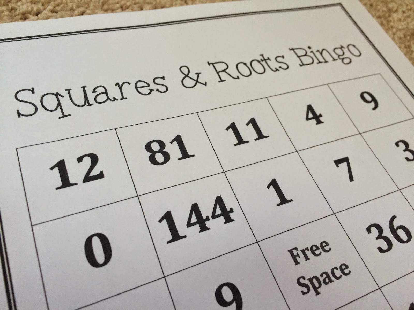http://www.teacherspayteachers.com/Product/Squares-and-Square-Roots-Bingo-389267