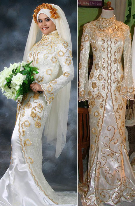 Islamic Wedding Dresses For   : Modern muslim wedding dresses design with veil