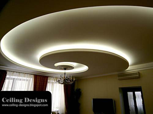 Spiral POP Ceiling Designs For Living Room With Hidden Lights And Accessories