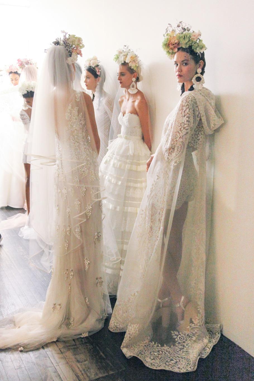 Wedding dresses backstage at naeem khan fall 2016 bridal for Naeem khan wedding dress