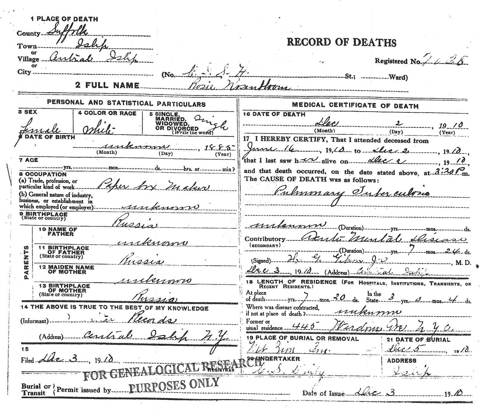All my foreparents rosenbloom updates steinig located the place of death central islip state hospital a psyciatric facility on long island and obtained a copy of the death certificate yadclub Images