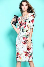 New 2017 Half Sleeve Lotus Floral and Fruit Pring OL Dress