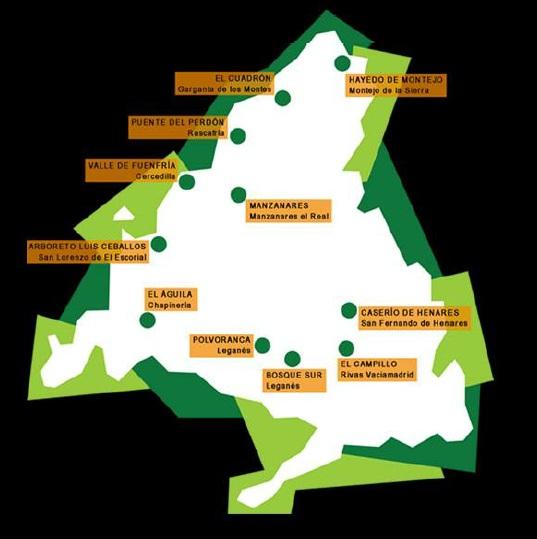 Mapa de red de centro de la concejalia de medio ambiente de la Comunidad de Madrid. Ocio Verde, actividades y planes medio ambientales.