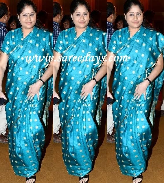 Latest saree designs vijayashanthi in blue raw silk saree checkout telugu actress vijayashanthi in blue raw silk saree with polka dots silver zari all over the saree and small zari border and paired with matching altavistaventures Image collections
