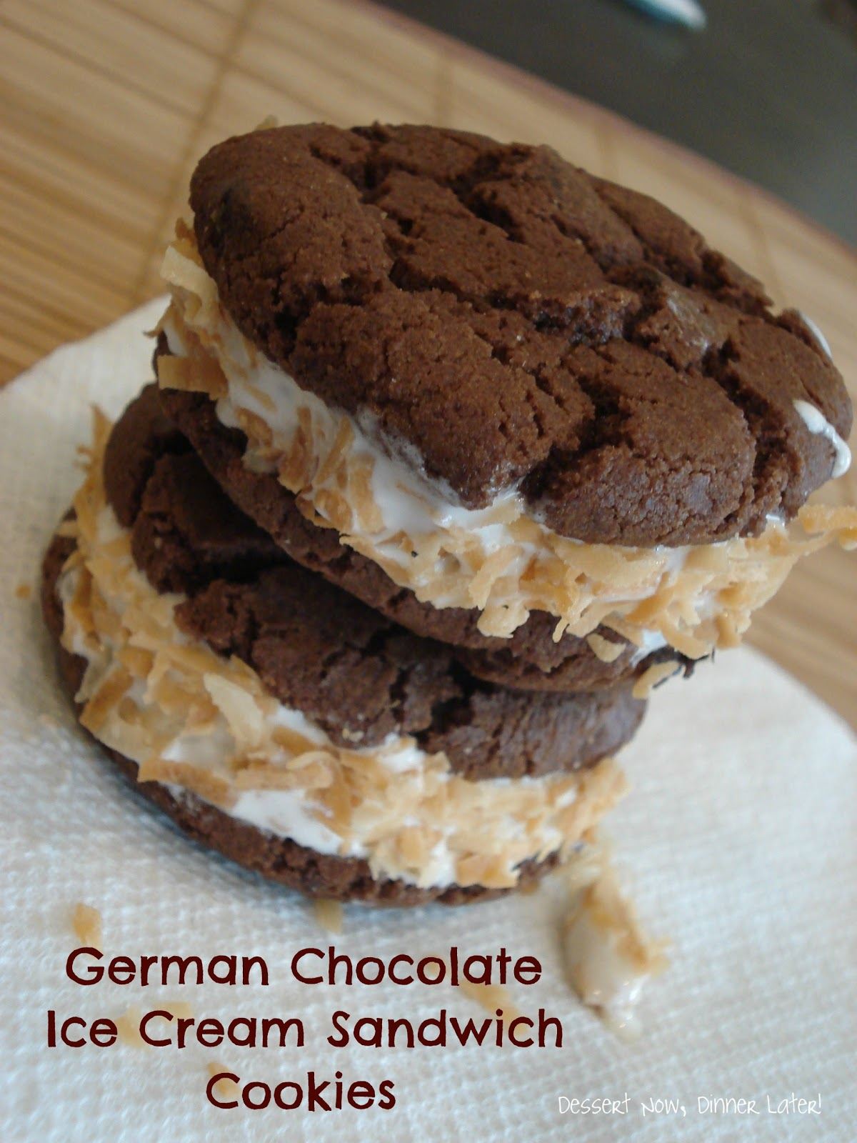 German Chocolate Ice Cream Sandwich Cookies - Dessert Now, Dinner ...