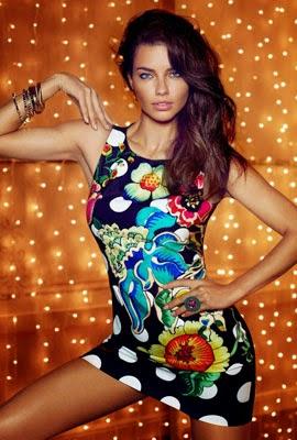 Desigual catálogo outono inverno Adriana Lima vestidos