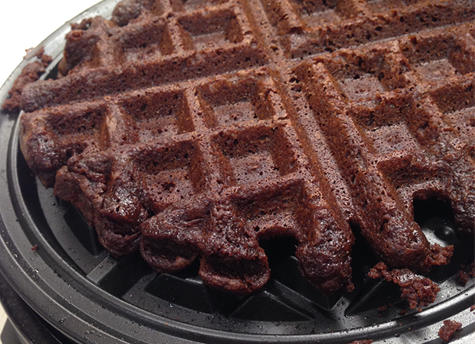Waffle maker and brownie after cooling.