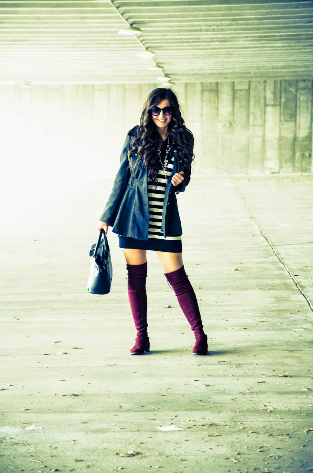 fall outfit, fall stripes, military coat, fall military coat, stuart wietzman, stuart wietzman boots, burgundy over the knee boots, over the knee riding boots, striped tunic, fall outfit, what to wear for fall, what to wear in the fall and winter time,