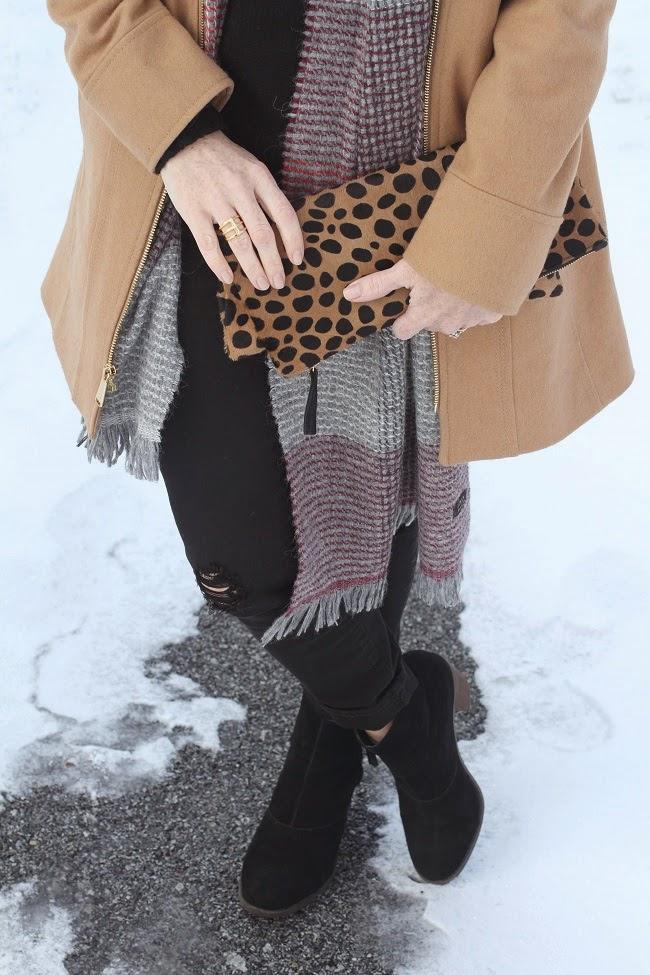 michael kors coat, jcrew cashmere, jcrew black jeans, plaid scarf, clare v leopard clutch