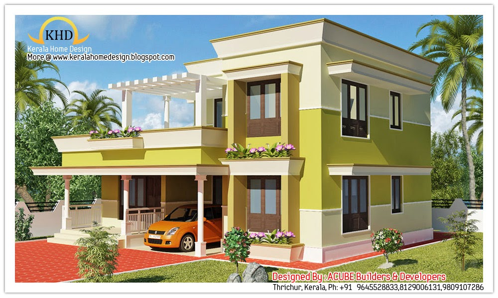 Modern contemporary home elevation 1800 sq ft kerala for Kerala home design ground floor
