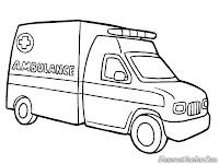 Mewarnai Mobil Ambulans Rumah Sakit
