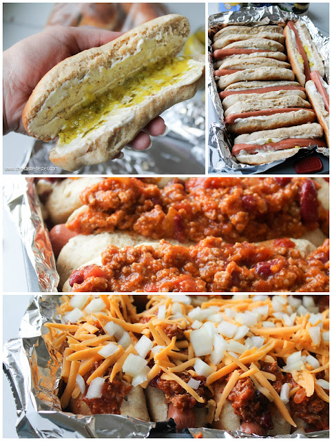 Oven Baked Chili Dogs-- an easy weeknight dinner! www.the-taste-tester.com