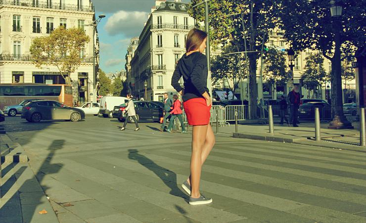 stylizacje z czerwoną spódnicą