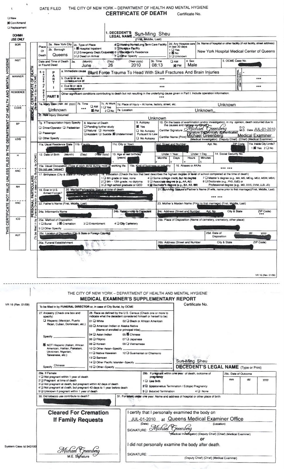 The Murder of Sunny Sheu: Sunny Sheu Death Certificate
