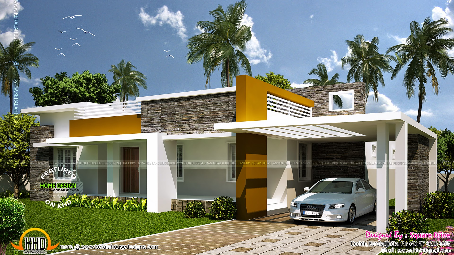 Modern house with floor plan keralahousedesigns for Modern single floor house designs