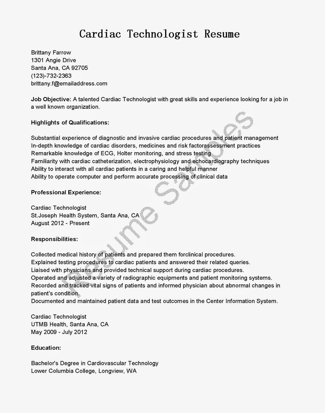 cardiac technologist resume sle x machines