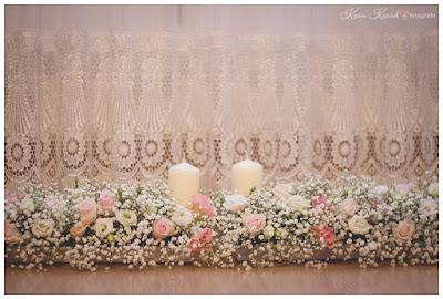 dekoracja sali gipsówka eustoma róża, Lublin, Zielone Klimaty