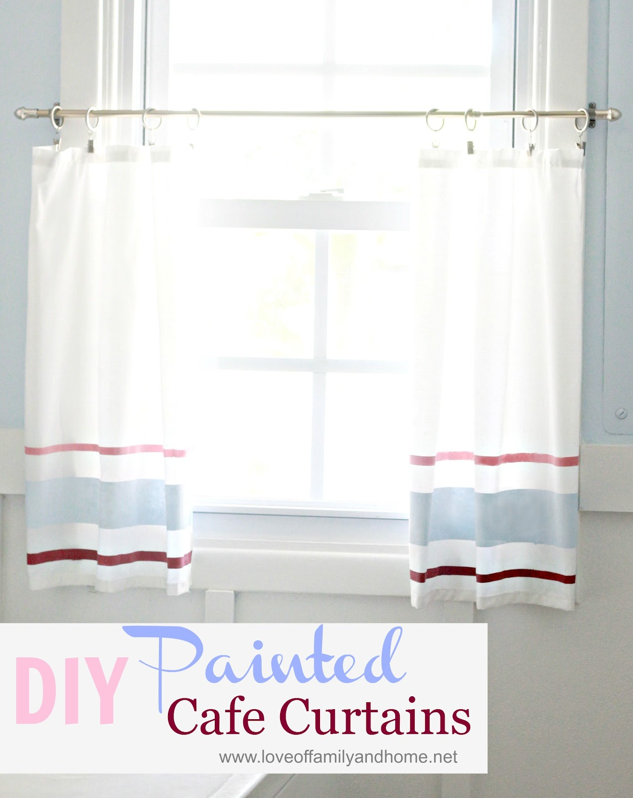 DIY Painted Cafe Curtain {Tutorial} - Love of Family & Home