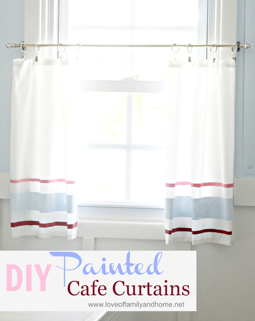 diy painted cafe curtain tutorial love of family home. Black Bedroom Furniture Sets. Home Design Ideas