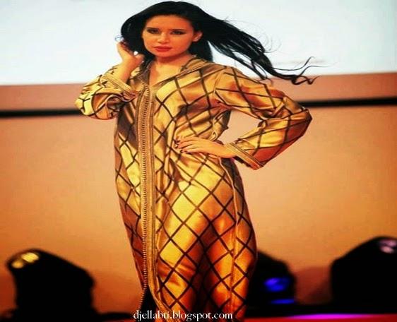 Djellaba, djellaba femme, djellaba luxe, djellaba marocaine, djellaba moderne, Djellaba Doré, djellaba Jaune,