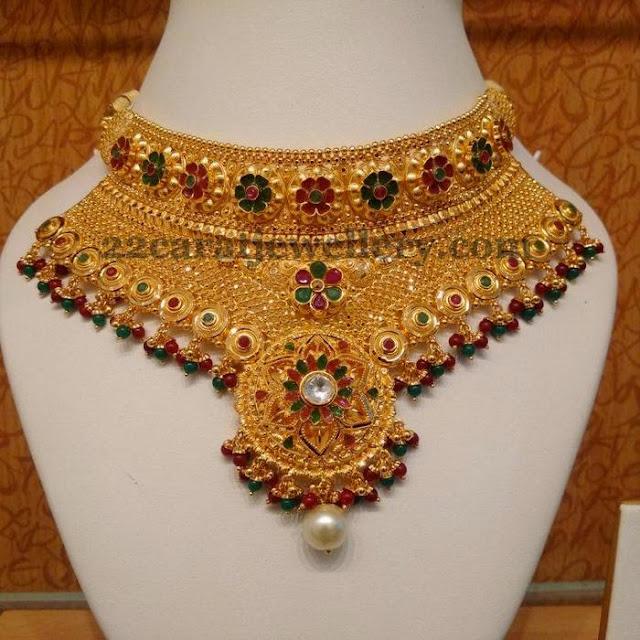 Floral Work Heavy Bridal Gold Choker
