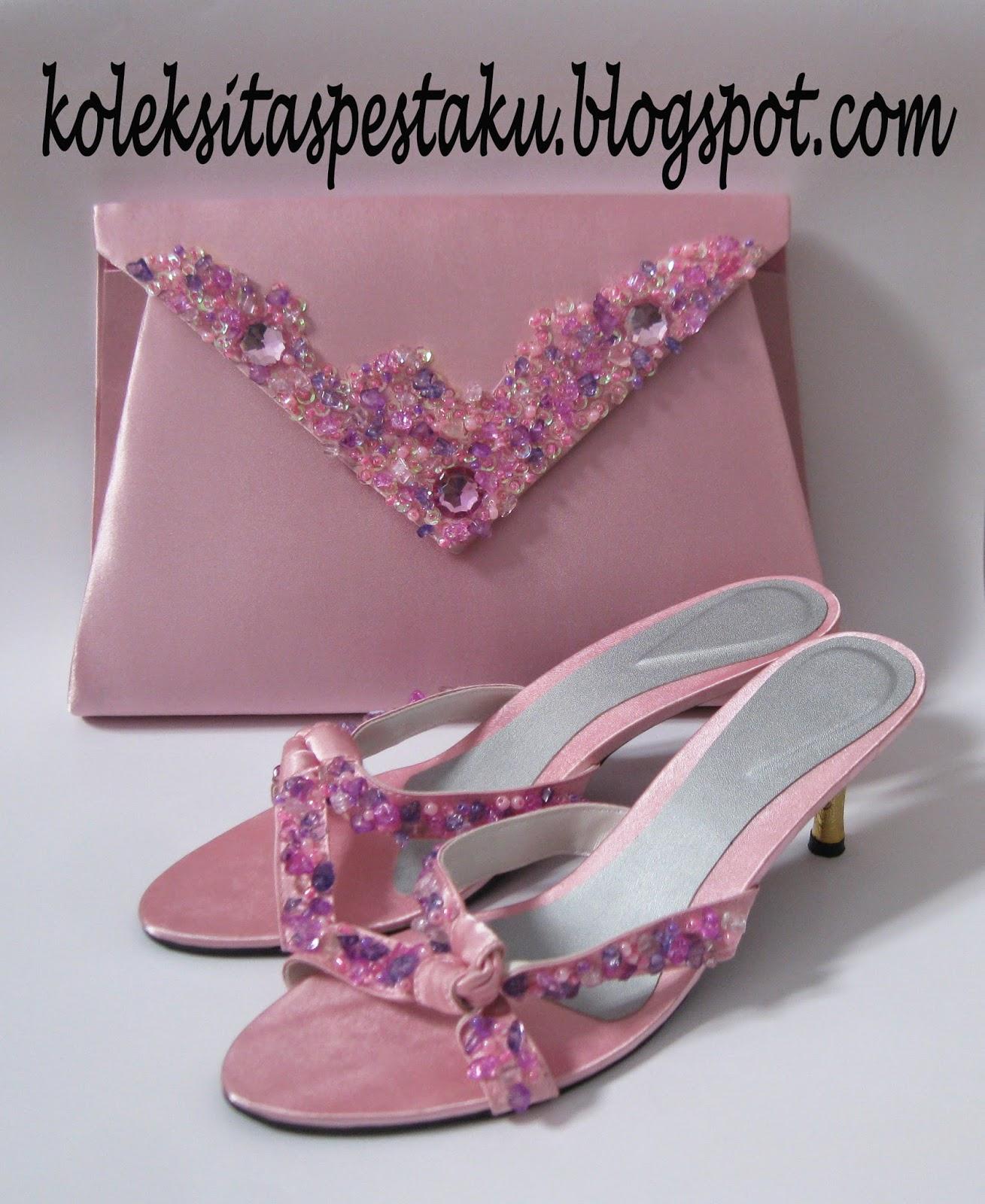 Tas Pesta Besar Pink Elegant Mewah Dengan SLop Sandal