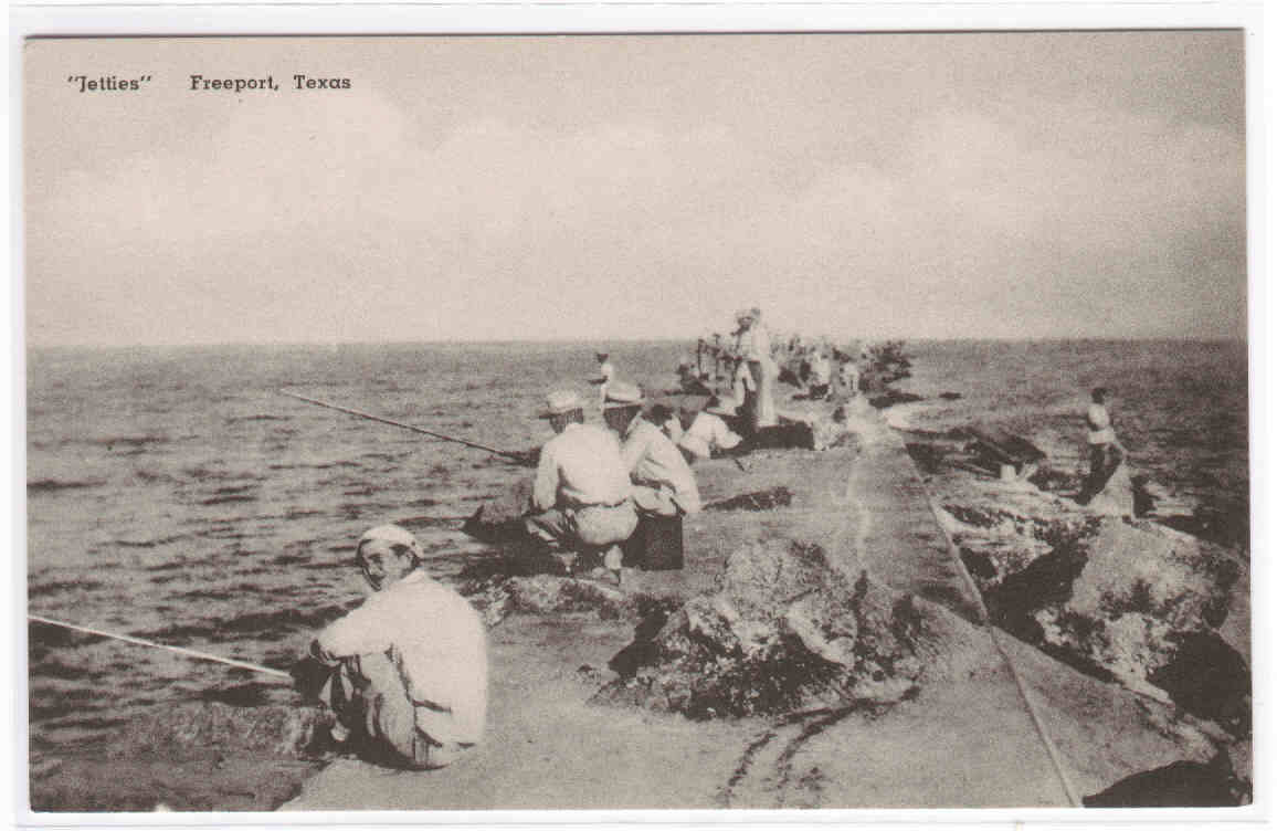 my life in postcards  fishing from the jetty  freeport