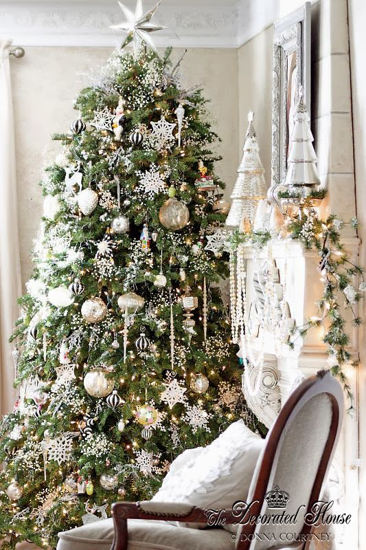 The decorated house christmas white and silver with for Christmas tree with red and silver decorations