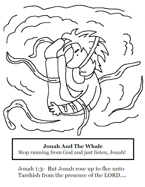 Jonah And The Whale Printable Coloring Sheet