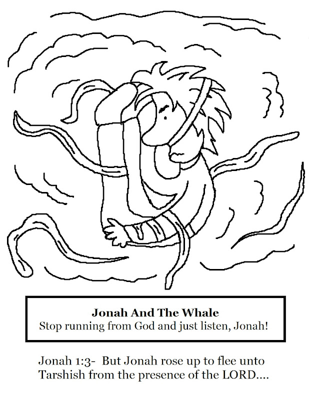 Jonah and The Whale Coloring Page title=