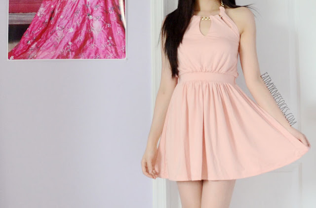 More photos of the cute pastel pink halter dress with neckline cutouts from WalkTrendy.