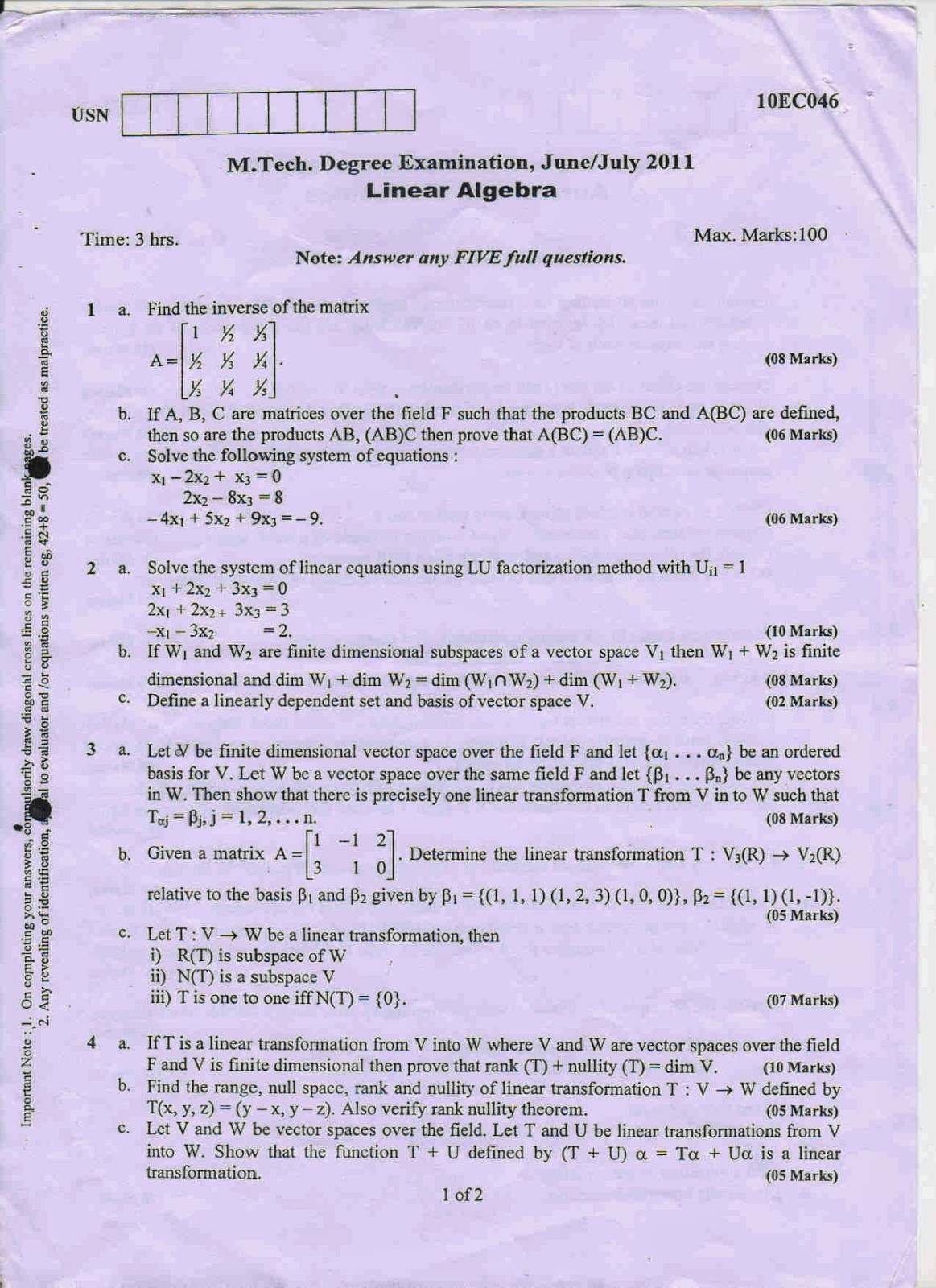 thesis on linear algebra Postgraduate research topics in pure mathematics  basic linear algebra and analysis, and will involve multivariate hypergeometric functions, and perhaps potential .