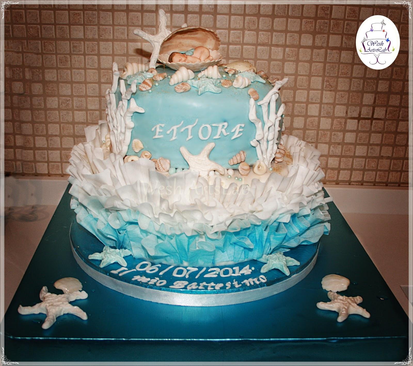 Fabuleux SCHOOL OF SUGARCRAFT: Torta Battesimo con deco marine senza stampi  OF07