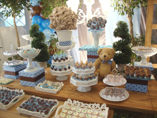 decoracao festa urso azul e marrom:decoracao festa urso marron e azul – festa infantil