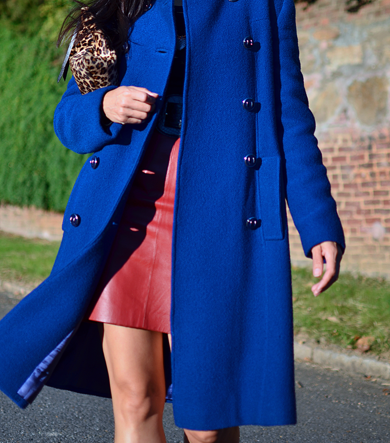 Cobalt blue coat street style