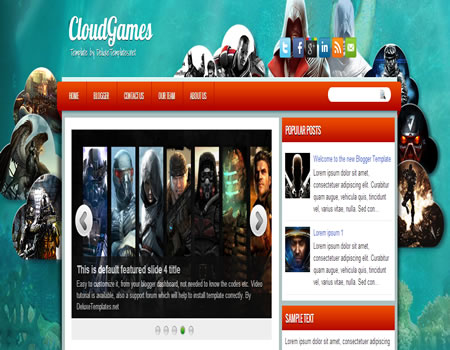 template grátis Blogspot CloudGames