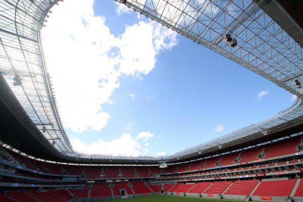 Arena Pernambuco com arquibancadas protegidas