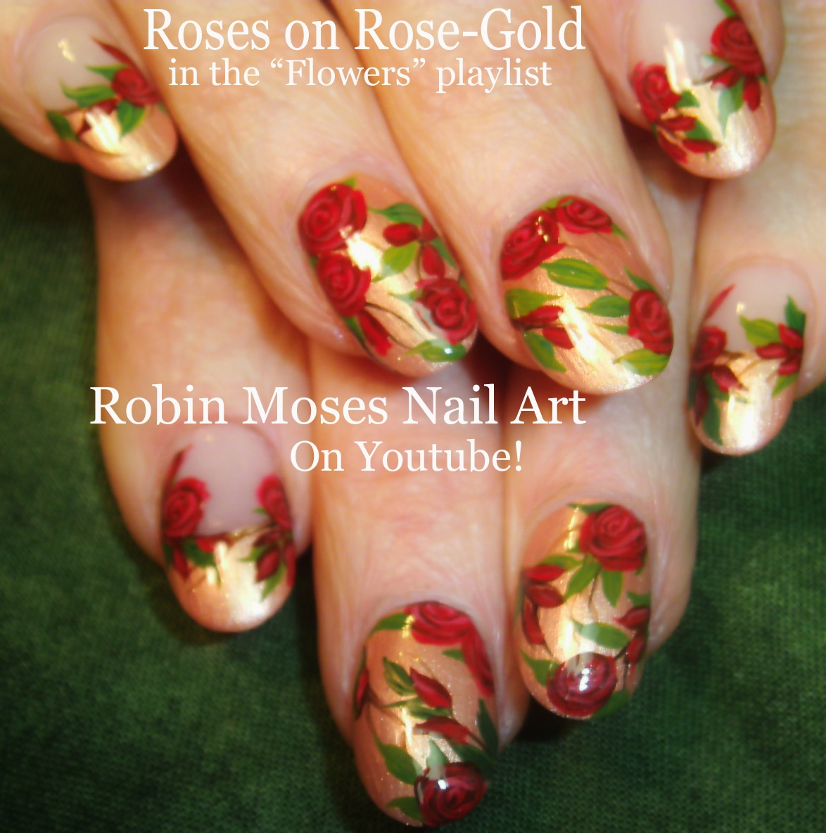 Red roses on black tips roses do it yourself how to paint flower nails playlist of easy flower nail art tutorials floral nail designs ideas for beginners to advanced nail techs solutioingenieria Choice Image