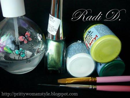 лак за нокти металик, акрилна боя, плоска четка